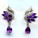 A pair of 925 silver drop earrings set with marquise and pear cut amethysts, L. 2.5cm.