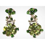 A pair of 925 silver rose drop earrings set with pear cut peridot, chrome diopside and white stones,