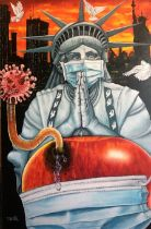 """O Yemi Tubi (MOYAT). """"The Big Apple SOS"""", oil on canvas, 30 x 20inches. """"If my people, which are"""