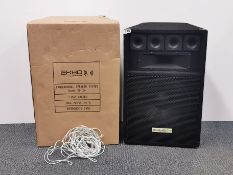 A pair of Akho Hi Fi speakers, one still boxed, H. 66cm.