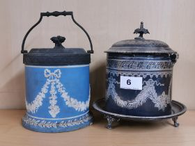 A Victorian silver plated biscuit barrel , H. 19cm. Together with a similar period Wedgwood type