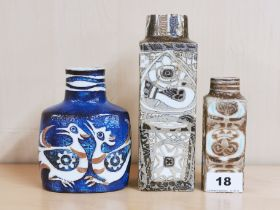 Three Royal Copenhagen ceramic vases (blue and small brown vases 1965 -1996 decorated by Nils