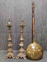 A pair of large early 20th C gilt brass table lamps, H. 65cm. together with a pierced brass