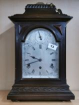 A 19th C chiming mahogany bracket clock with silvered dial, H. 49cm.