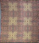 A large silk and wool paisley design blanket/shawl, 275 x 325cm.