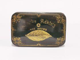 A 19th C papier mache advertising box for Adkin's Nut Brown tobacco, 13 x 8 x 4.5cm.