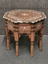 An octagonal bone inlaid indian hardwood table, 46 x 46 x 42cm.