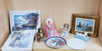Three limited edition Bradford Exchange porcelain panels together with further porcelain items.