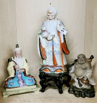 A group of three Chinese porcelain figurines, tallest 33cm.