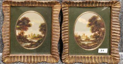 A pair of Italian gilt framed oils of classical ruins, frame size 24 x 30cm.
