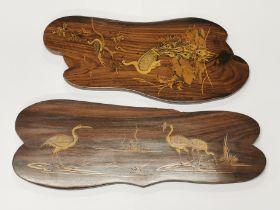 A pair of attractive inlaid hardwood panels, longest 50cm.
