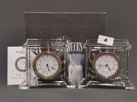 Two Waterford crystal mantle clocks, H. 13cm.