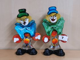 Two vintage Murano glass clown figures, H. 20cm. Condition: no visible damage or repair.