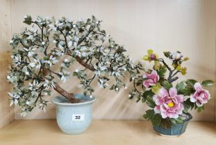 Two Chinese glass bonsai trees in ceramic pots, largest 38cm.