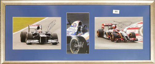 Autograph interest: A framed group of three driver signed pictures by Rona Grosjean (Swiss, 1986),