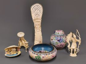 A Chinese cloisonne jar and lid, H. 10cm. together with a cloisonne bowl, three celluloid items