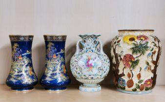 A pair of Crown Devon Oriental design vases, H. 19cm. together with a further European porcelain