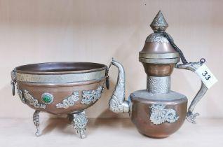 A Tibetan copper and silvered metal jug and censer, jug H. 22cm.