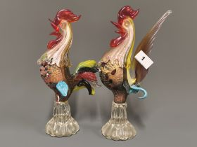 Two vintage Murano glass cockerels, H. 27cm. Condition: no visible damage or repair.