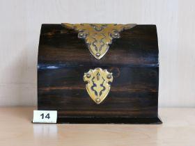 A lovely gothic shaped figured ebony veneered and brass finished stationery box c. 1850 - 1870, 21 x