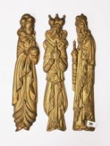 Three 19th C Continetal gilt carved wooden figures of the three kings, H. 49cm.