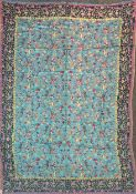 A fine woven silk and wool shawl with Flora and Fauna pattern, 145 x 200cm