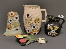 A group of four 1920's Brentleigh pottery items.