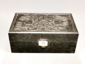 A Chinese carved glass hardwood box, 30 x 18 x 12cm.