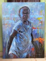 """Popoola Nurudeen, """"The giant leap"""", oil on canvas, 92 x 123cm, c. 2021. Every stages in life"""