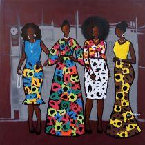 "Abigail Nnaji, ""Synergy II (Ankara Series)"", acrylic and paper on canvas, 92 x 92cm, c. 2019."