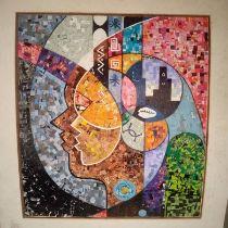 """Nnaji Iheanacho, """"Soul over body"""", magazine cuts on board (collage), 55 x 60cm, c. 2021. The"""