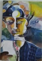 "Dr Ritadoris Edumchieke Ubah, ""Sisi Eze 1"", acrylic on canvas, 61 x 92cm, c. 2018. One of the Chiefs"