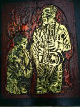 """Ufuoma Onobrakpeya, """"Musicians"""", oil on canvas, 49 x 69cm, c. 2002. This is an Artwork made with"""