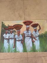 """Ufuoma Onobrakpeya, """"Fulani Milk Maidens"""", oil on canvas, 89 x 60cm, c. 2020. This is another"""