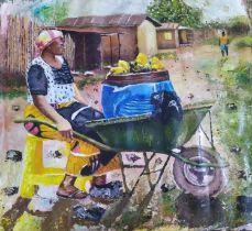 "Dr Ritadoris Edumchieke Ubah, ""Okpadioku"", acrylic on canvas, 107 x 102cm, c. 2020. The woman"