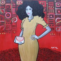 """Abigail Nnaji, """"Sisi"""", acrylic and paper on canvas, 92 x 92cm, c. 2019. Sisi is a slang for a"""