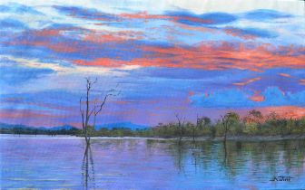 """Nicholas Jim, """"Sunset at the Lake"""", oil on canvas, 61 x 38cm, c. 2019. Shipping to the UK £100."""