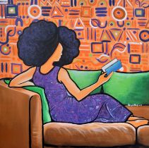 """Abigail Nnaji, """"Blue Book"""", acrylic and paper on canvas, 92 x 92cm, c. 2019. This is the story of"""