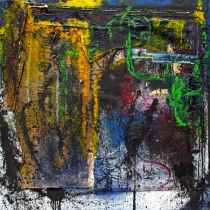 """Peter Musami, """"Untitled X"""", mixed media, 140 x 140cm, c. 2021. Textural gestures resonate with"""
