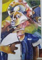 """Dr Ritadoris Edumchieke Ubah, """"Sisi Eze 2"""", acrylic on canvas, 61 x 92cm, c. 2018. Waiting to pass"""
