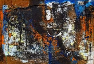 """Peter Musami, """"Cheneso/Cleansing"""", mixed media, 158 x 230cm, c. 2019. Textural gestures resonate"""