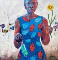 """Popoola Nurudeen, """"We shall raise the flowers"""", oil on canvas, 92 x 92cm, c. 2020. This piece is"""