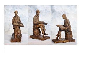 "Ohiolei Ohiwerei, ""Pensioner"", Benin bronze, 12 x 47cm, 9kg, c. 2021. One scene fast disappearing is"