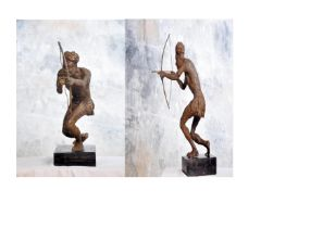 """Ohiolei Ohiwerei, """"Goal getter"""", Benin bronze, 14 x 62cm, 12kg, c. 2021. The man in most clime is"""