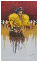 "Kalu Uche Karis, ""Efik Pride"", acrylic and oil on stretched canvas, 61 x 102cm, c. 2021. Reasonable,"