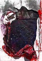 """Peter Musami, """"Ruzhowa/Boundary"""", mixed media, 85 x 122cm, c. 2021. Textural gestures resonate"""