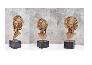 """Ohiolei Ohiwerei, """"Sisi Eko 1"""", Benin bronze, 30 x 58cm, 11kg, c. 2021. In spite of the hard times"""