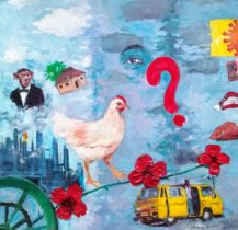 "Popoola Nurudeen, ""Adiye funfun"", oil on canvas, 92 x 92cm, c. 2020. Adiye funfun is an adage in"
