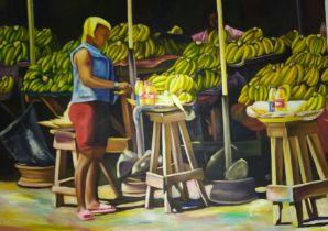 "Dr Ritadoris Edumchieke Ubah, ""Oso lockdown "", acrylic on canvas, 122 x 92cm, c. 2020. Oso"