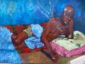 "Popoola Nurudeen, ""iriri"" (experiences), oil on canvas, 124 x 92cm, c. 2021. This piece is about the"
